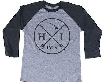 Homeland Tees Hawaii Arrow Tri-Blend Raglan Baseball Shirt