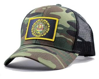 Homeland Tees New Hampshire Flag Hat - Army Camo Trucker