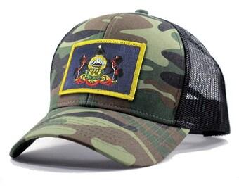 Homeland Tees Pennsylvania Flag Hat - Army Camo Trucker