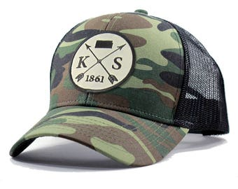 Homeland Tees Kansas Arrow Hat - Army Camo Trucker
