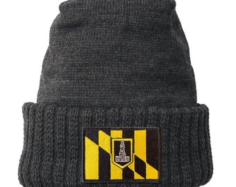 Homeland Tees Baltimore Maryland Flag Patch Cuff Beanie