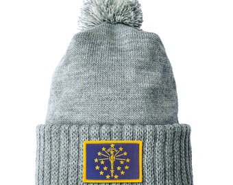 Homeland Tees Indiana Flag Patch Cuff Beanie