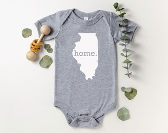 Homeland Tees Illinois Home Bodysuit Baby Boy Girl Newborn Coming Home Outfit Shower Gift