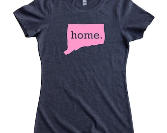 Homeland Tees Connecticut Home State Women's T-Shirt - Pink Edition