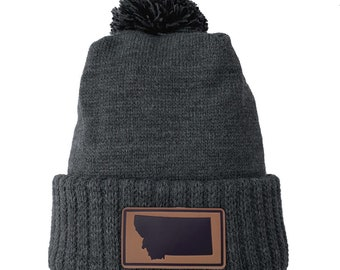 Homeland Tees Montana Leather Patch Cuff Beanie