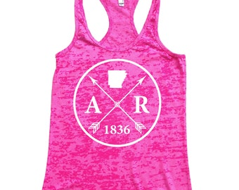 Homeland Tees Arkansas Arrow Women's Burnout Racerback Tank Top