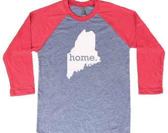 Homeland Tees Maine Home Tri-Blend Raglan Baseball Shirt