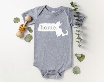 Homeland Tees Massachusetts Home Bodysuit Coming Home Outfit Shower Gift Newborn Baby Boy Girl