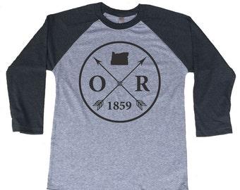 Homeland Tees Oregon Arrow Tri-Blend Raglan Baseball Shirt
