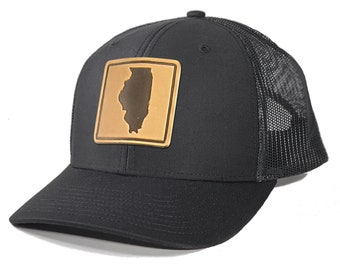 Homeland Tees Illinois Leather Patch Trucker Hat
