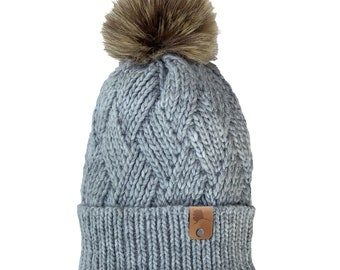 Homeland Tees Alaska Leather Label Faux Fur Pom Beanie