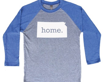 Homeland Tees Kansas Home Tri-Blend Raglan Baseball Shirt