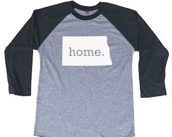 Homeland Tees North Dakota Home Tri-Blend Raglan Baseball Shirt