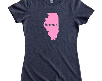 Homeland Tees Illinois Home State Women's T-Shirt PINK EDITION