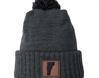 Homeland Tees Vermont Leather Patch Cuff Beanie