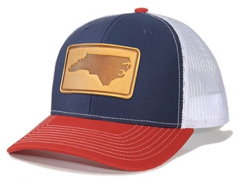 Homeland Tees North Carolina Leather Patch Trucker Hat