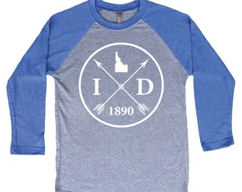 Homeland Tees Idaho Arrow Tri-Blend Raglan Baseball Shirt