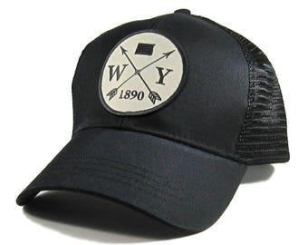 Homeland Tees Wyoming Arrow Hat - All Black Trucker