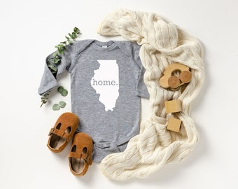 Homeland Tees Illinois Home Unisex Long Sleeve Baby Bodysuit