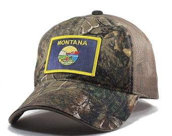 Homeland Tees Montana Flag Hat - Realtree Camo Trucker