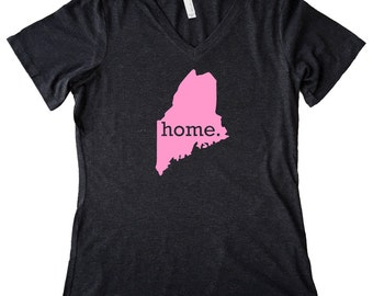 V Neck Maine Home State T-Shirt Women's PINK EDITION Triblend Tee - Sizes S-XXL
