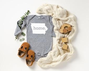 Homeland Tees Iowa Home Unisex Long Sleeve Baby Bodysuit