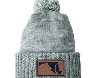 Homeland Tees Maryland Leather Patch Cuff Beanie