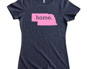 Nebraska Home State T-Shirt Women's Tee PINK EDITION - Sizes S-XXL