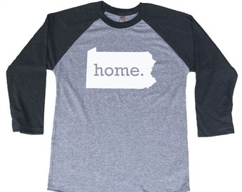 Homeland Tees Pennsylvania Home Tri-Blend Raglan Baseball Shirt