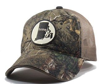 Homeland Tees Rhode Island Home State Realtree Camo Trucker Hat