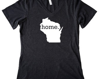 V Neck Wisconsin Home State T-Shirt Women's Triblend Tee - Sizes S-XXL