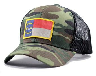 Homeland Tees Army Camo North Carolina Flag Patch Trucker Hat