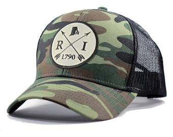 Homeland Tees Rhode Island Arrow Hat - Army Camo Trucker