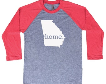 Homeland Tees Georgia Home Tri-Blend Raglan Baseball Shirt