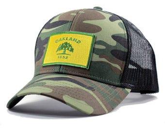 Homeland Tees Oakland Flag Hat - Army Camo Trucker