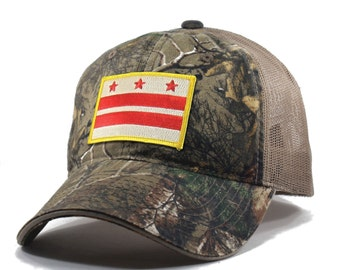 Homeland Tees Washington DC Flag Hat - Realtree Camo Trucker