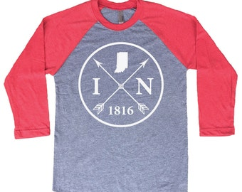 Homeland Tees Indiana Arrow Tri-Blend Raglan Baseball Shirt