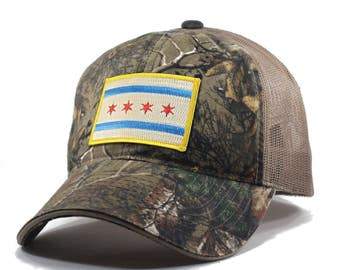 Homeland Tees Chicago Flag Hat - Realtree Camo Trucker
