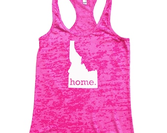 Homeland Tees Idaho Home Burnout Racerback Tank Top - Women's Workout Tank Top