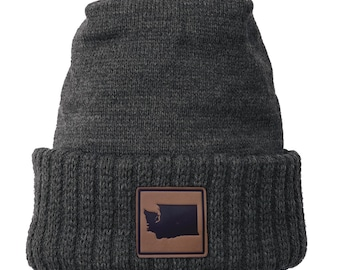 Homeland Tees Washington Leather Patch Cuff Beanie