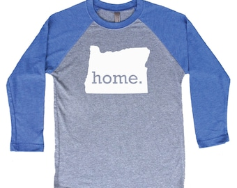 Homeland Tees Oregon Home Tri-Blend Raglan Baseball Shirt