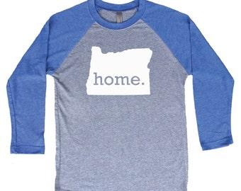 Homeland Tees Oregon Home Tri-Blend Raglan Baseball Shirt