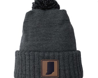 Homeland Tees Indiana Leather Patch Cuff Beanie