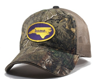 Homeland Tees North Carolina Home State Realtree Camo Trucker Hat - Purple and Gold