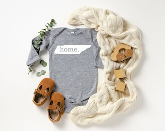 Homeland Tees Tennessee Home Unisex Long Sleeve Baby Bodysuit