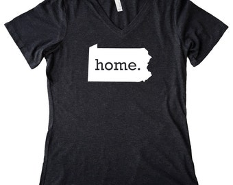 V Neck Pennsylvania Home State T-Shirt Women's Triblend Tee - Sizes S-XXL