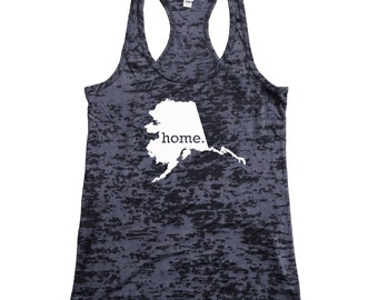 9e6d3efe794e6 Homeland Tees Alaska Home Burnout Racerback Tank Top - Women s Workout Tank  Top
