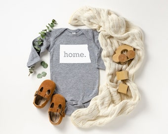 Homeland Tees North Dakota Home Unisex Long Sleeve Baby Bodysuit