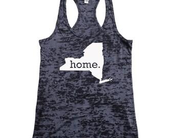 New York Home Burnout Racerback Tank Top - Women's Workout Tank Top