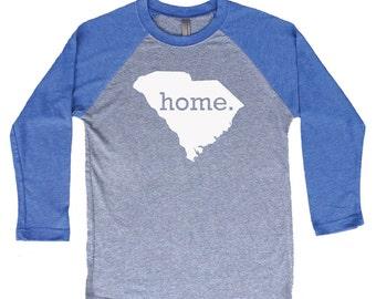 Homeland Tees South Carolina Home Tri-Blend Raglan Baseball Shirt